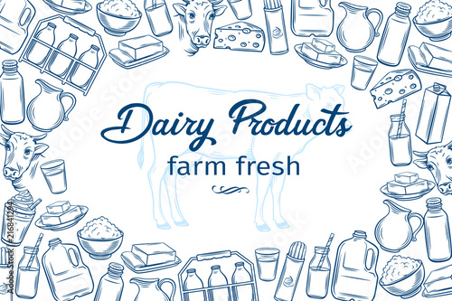 Fotomural hand drawn dairy products
