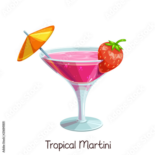 Valokuvatapetti tropical martini with strawberries