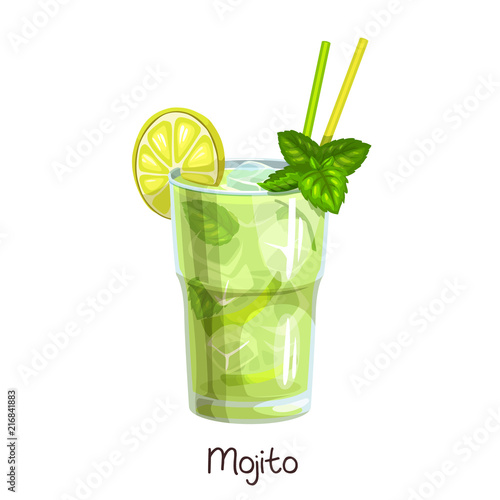 Fotografie, Obraz glass mojito cocktail