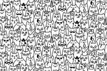 Cat Faces Vector Seamless Pattern And Background