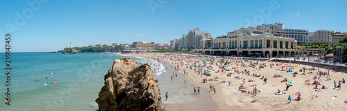 Photo View of Biarritz beach by the Atlantic ocean, France