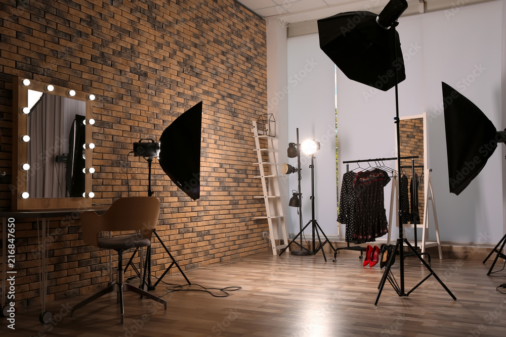 Fototapety, obrazy: Interior of modern photo studio with professional equipment