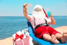 Authentic Santa Claus Taking Selfie At Resort