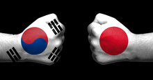 Flags Of Japan And South Korea...