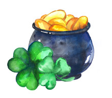 Pot Of Gold And Clover Leaves....