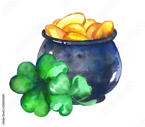 Pot of gold and clover leaves Canvas Print