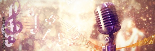 Composite image of close-up of microphone Canvas-taulu