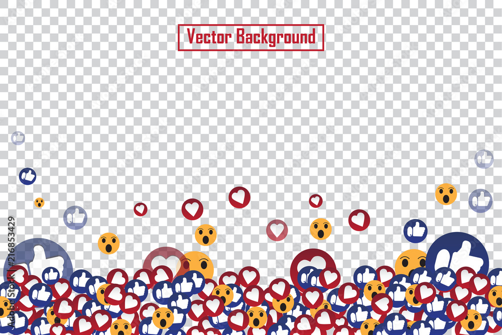 Fototapeta Social nets blue thumb up like and red heart floating web buttons isolated on transparent background. Like and heart icons for live stream video chat likes falling background vector design template
