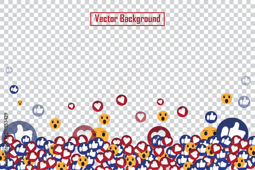 Social nets blue thumb up like and red heart floating web buttons isolated on transparent background Wallpaper Mural