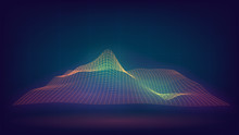 Glowing Grid With Waves, Relie...