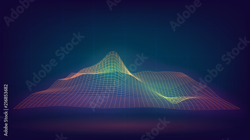 Stampa su Tela Glowing grid with waves, relief, abstract, technology