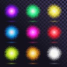 Set Of Glowing Fluffy Balls