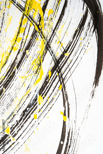 Fototapeta  Japanese calligraphy and water paint on Japanese paper