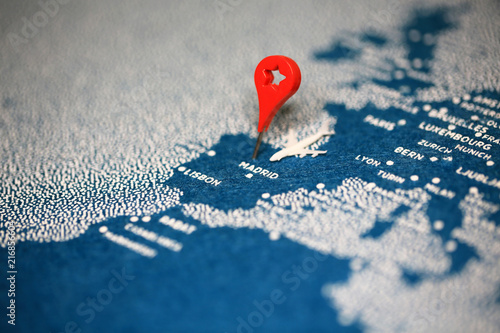 Fotomural  travel painted map with the pin, spain