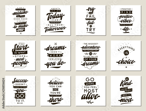 Recess Fitting Positive Typography Set of cards with quotes.