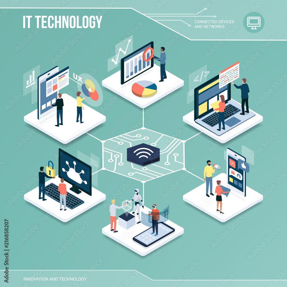 Fototapeta Digital core: IT technology and networks