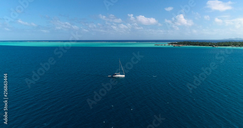 Spoed Foto op Canvas Zeilen sailboat in aerial view , French Polynesia