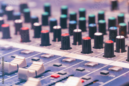 Fotografie, Obraz  View of the mixing console in the Studio