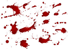Messy Blood Blot, Red Drops On White Background. Vector Illustration, Maniac Style. Big Splashes