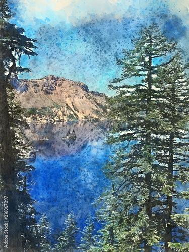 Fototapeta Watercolor of Crater Lake National Park obraz na płótnie