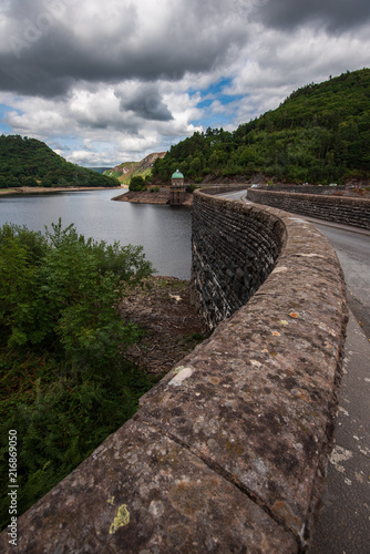 Fotobehang Bleke violet Elan valley reservoirs in a dry and very hot summer time in the welsh countryside