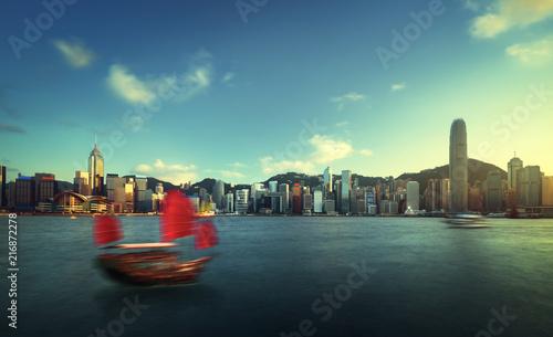 Deurstickers Aziatische Plekken Hong Kong harbour, long exposition