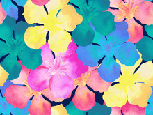 Hawaiian Watercolor Pattern.