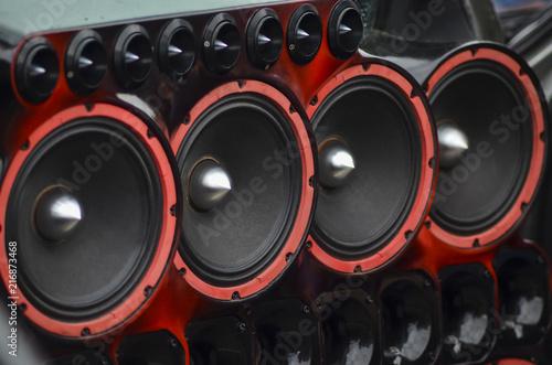 Fotografie, Obraz  Installed powerful audio speakers in front door of the car