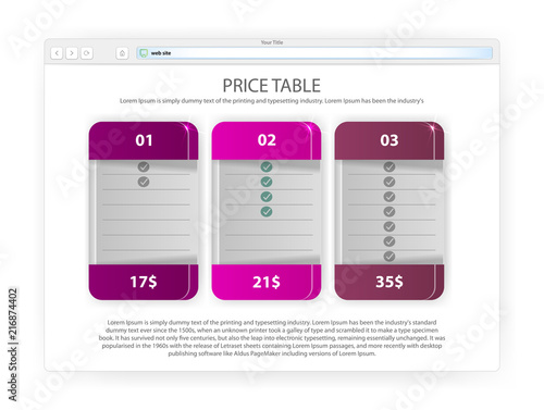 Price List For Website In Shades Of Purple