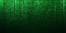 Binary Matrix 1 0 Bits Green Abstract Background