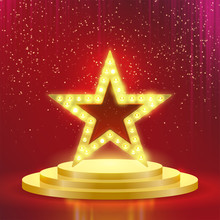 Star Podium Lamps Vector Red L...