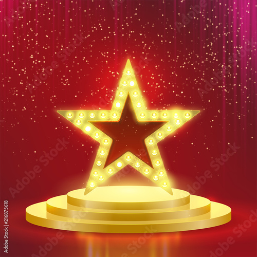 Photo  Star podium lamps vector red light background