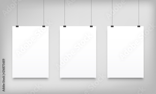 Fototapeta Poster mockups white hanging vector paper canvas obraz