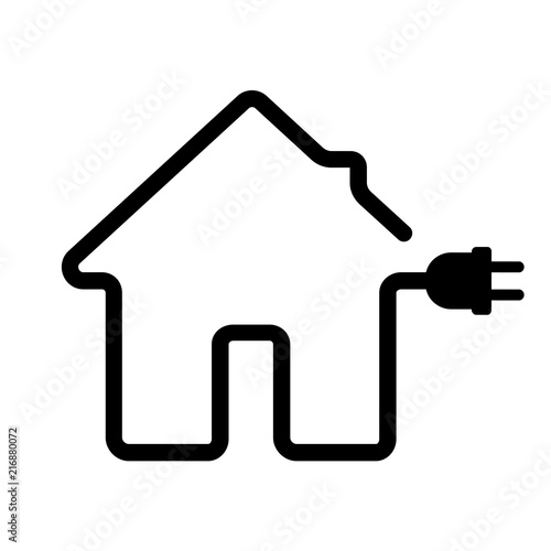 Fototapeta Line icon of smart home with power efficiency. House or home with electric plug. Vector Illustration obraz