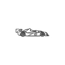 Race Car Hand Drawn Outline Doodle Icon. Racing Competition,speed Drive And Formula One, Fast Sport Car Concept. Vector Sketch Illustration For Print, Web, Mobile And Infographics On White Background.
