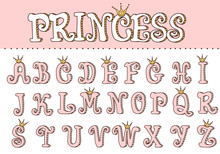 Pink Princess Cute Font. Letters For Decoration In Girlish Style. Doodle Vector Elements Of Royal Design. Typo Birthday Invite Template With Crown. Fun Text For Little Baby Girl. Doll Vintage Alphabet
