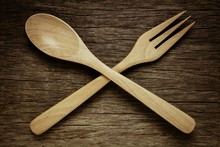 Wood Spoon And Fork On Old Woo...
