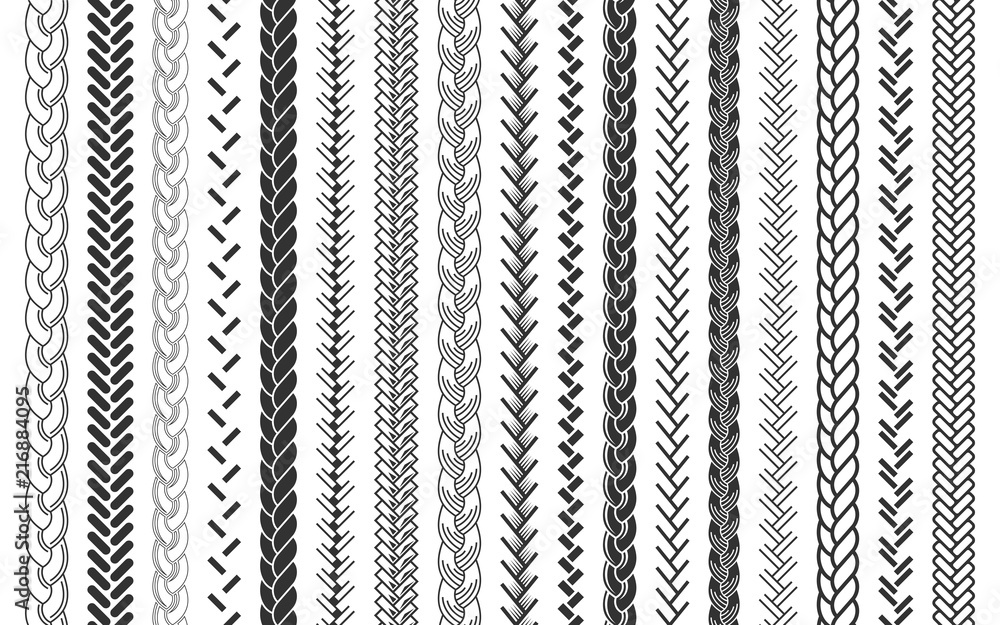Fototapety, obrazy: Plait and braids pattern brush set of braided ropes vector illustration
