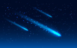 Realistic Vector of three comet in the starry space sky.