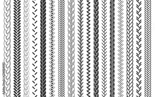 Valokuvatapetti Plait and braids pattern brush set of braided ropes vector illustration