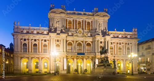 Foto op Plexiglas Europa White facade of Palazzo Carignano at night, Turin