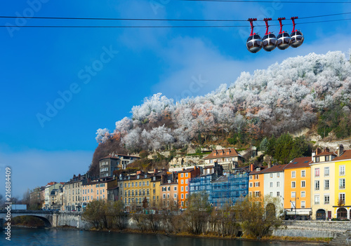 Fotobehang Europa Grenoble cableway to Bastille fortress