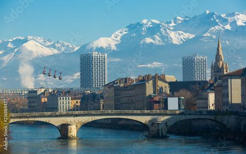 Cable car is transportation landmark of Grenoble in France - fototapety na wymiar