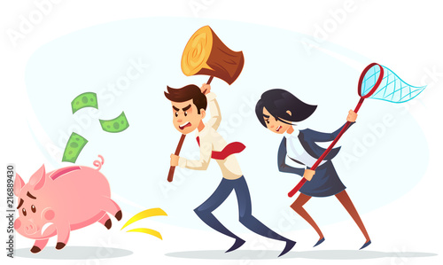 Poor bankrupt businessman businesswoman office worker character running chase piggy bank with hammer net Wallpaper Mural