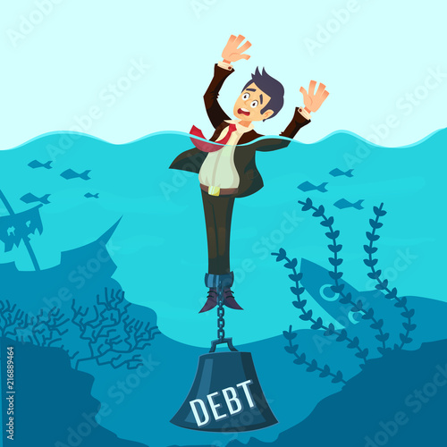 Fotografija Businessman drowning chained with a weight Debt, having money problems, unable to pay bills, poor family debt management plan, increased monthly payments