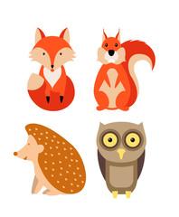 Autumn animals set