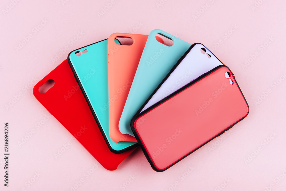 Fototapety, obrazy: Set of colored silicone covers for smart phone