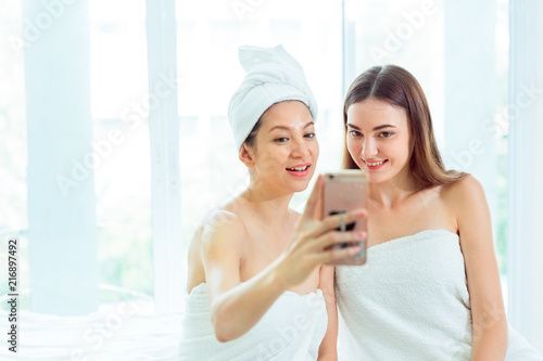 Heal care concept, Beauty Women is selfie take photo together in luxury relax spa, Healty and beauty background with copy space.