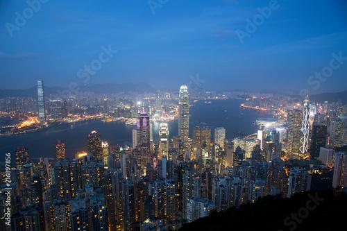 Deurstickers Aziatische Plekken Hong Kong Skyline at Dusk