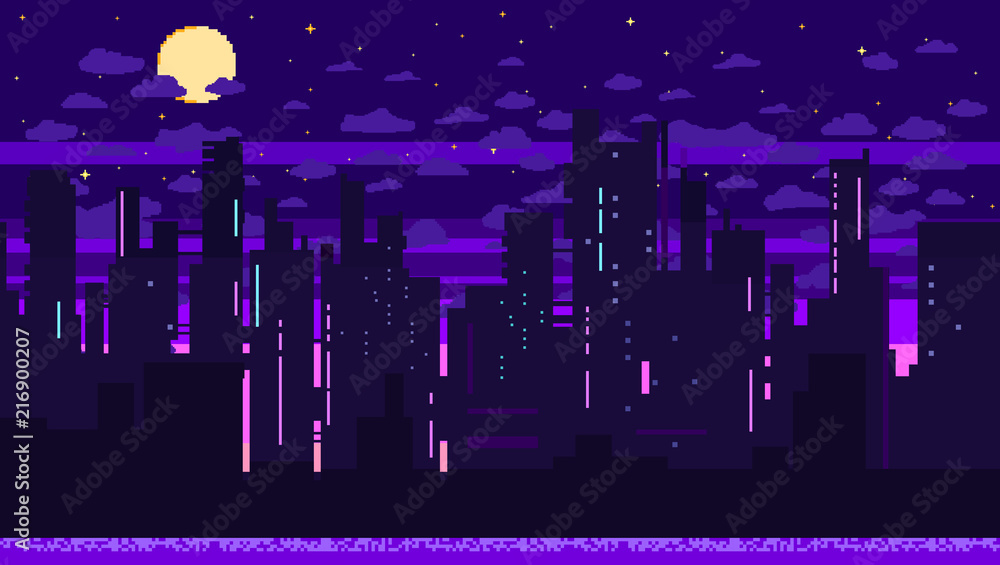 Fototapeta Pixel art game background with road, ground, sunset, landscape, sky, clouds, silhouette city, stars and moon. Background with gradient.